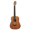 This mahogany-top edition of the Baby Taylor will yield a slightly darker, earthier tone than its spruce top sibling. The pint-size mini-Dreadnought was originally inspired by a desire to provide a smaller, starter-size guitar for kids and a legitimate musical companion for travelers, but players have since adapted it for their needs in all sorts of creative ways, from high-stringing it to setting it up to play lap slide, to embracing alternate tunings that add unique acoustic flavors to recordings. At the heart of it all is an authentic guitar sound and inviting playing experience. The guitar comes in a gig bag for easy toting convenience.